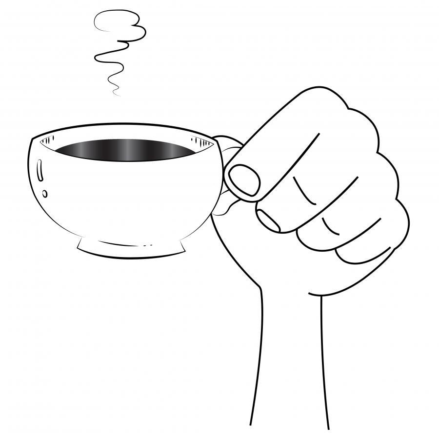 Hånd med kaffekop